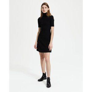 Theory Wool Ribbed Short Sleeve Turtleneck Dress
